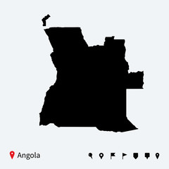 High detailed vector map of Angola with navigation pins.