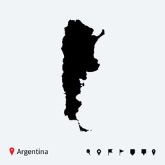 High detailed vector map of Argentina with navigation pins.