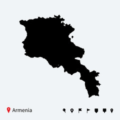 High detailed vector map of Armenia with navigation pins.