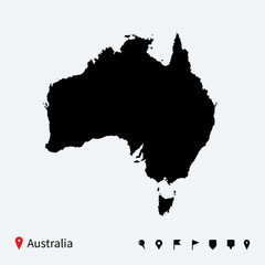 High detailed vector map of Australia with navigation pins.