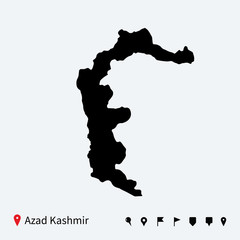 High detailed vector map of Azad Kashmir with navigation pins.
