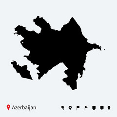 High detailed vector map of Azerbaijan with navigation pins.