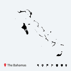High detailed vector map of Bahamas with navigation pins.