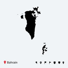 High detailed vector map of Bahrain with navigation pins.