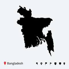 High detailed vector map of Bangladesh with navigation pins.