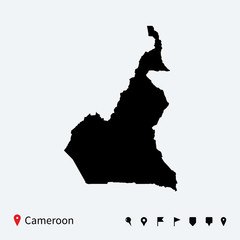 High detailed vector map of Cameroon with navigation pins.