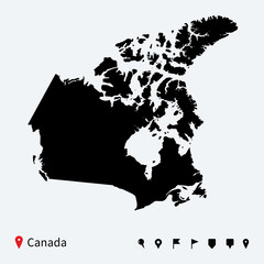 High detailed vector map of Canada with navigation pins.