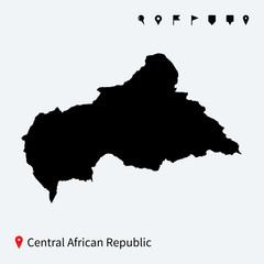 High detailed vector map of Central African Republic with pins.
