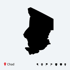 High detailed vector map of Chad with navigation pins.