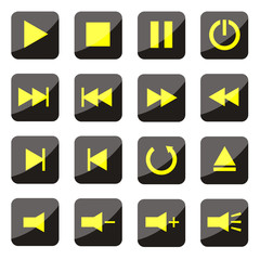yellow media player buttons