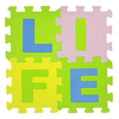 "Word ""Life"" with jigsaw puzzle pieces isolated"