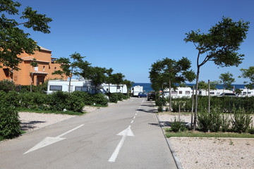 Camping site at the mediterranean coast in southern Spain