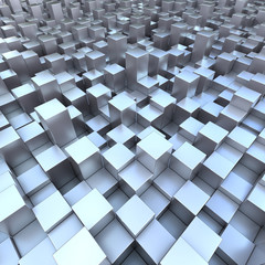 Modern background 3D blueish cubes