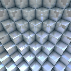 Modern background 3D blueish organized cubes