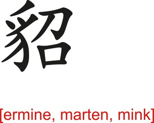 Chinese Sign for ermine, marten, mink