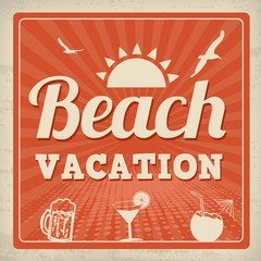 Beach vacation retro poster