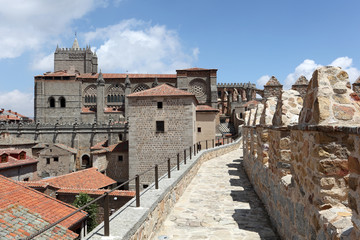 City walls and cathedral of Avila, Castilla y Leon, Spain