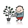 Man watering a money tree