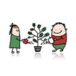 Couple watering a money tree