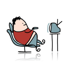 Man rest at armchair and watching tv