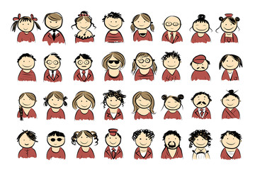 People icons sketch for your design