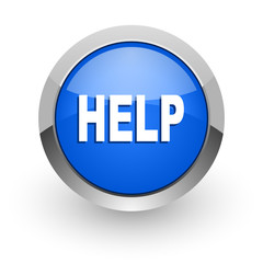 help blue glossy web icon