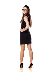 rear view of a business woman in a short black dress