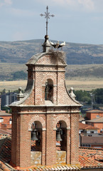 Stork nest in Avila, Castilla y Leon, Spain