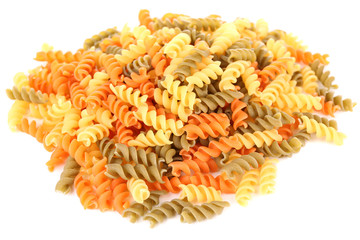 Colorful pasta isolated on white