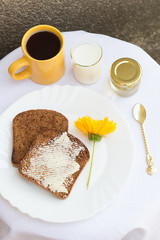 Toast with Butter, Honey, Coffee and Milk