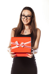 happy girl holding an open gift box