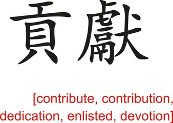 Chinese Sign for contribute, dedication, enlisted, devotion
