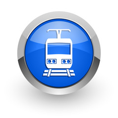 train blue glossy web icon