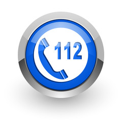 emergency call blue glossy web icon