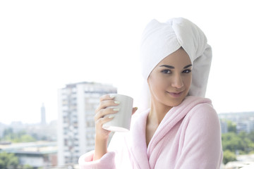 Young woman having a morning coffee
