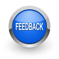 feedback blue glossy web icon
