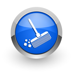 broom blue glossy web icon