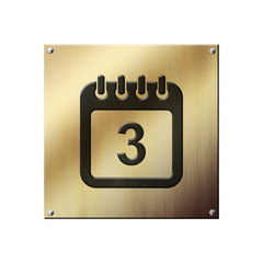 Icone plaque en or calendrier