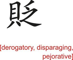 Chinese Sign for derogatory, disparaging, pejorative