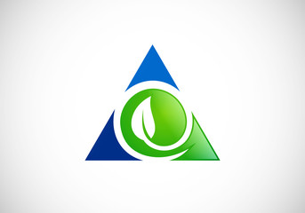 leaf triangle ecology vector logo