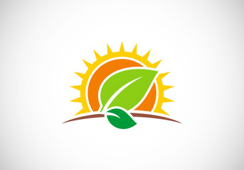 sun leaf landscape nature vector logo