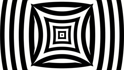 Black and white pinched bulging squares with hypnotic lines