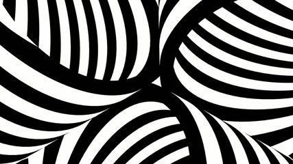 Black and white tubes with moving stripes