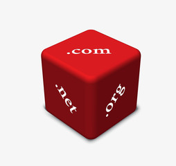 dice in red color with concept of Internet domains
