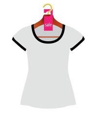 Wooden Coat Hanger With Sale Tag and T-shirt