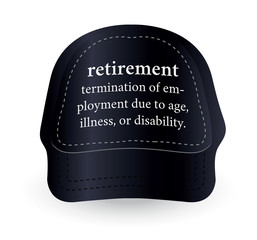 dictionary word of retirement on baseball cap
