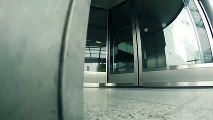 a revolving door at the airport