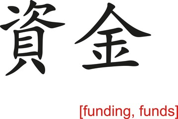 Chinese Sign for funding, funds