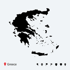 High detailed vector map of Greece with navigation pins.
