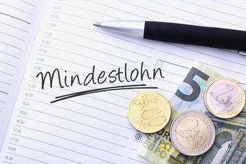 Mindestlohn Geld & Schriftzug